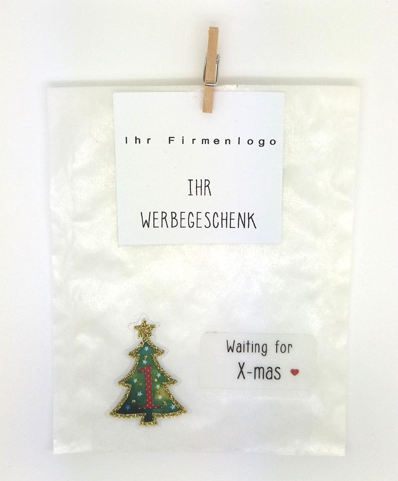 Pergamintüte Motiv Adventskalender mit Holzklammer