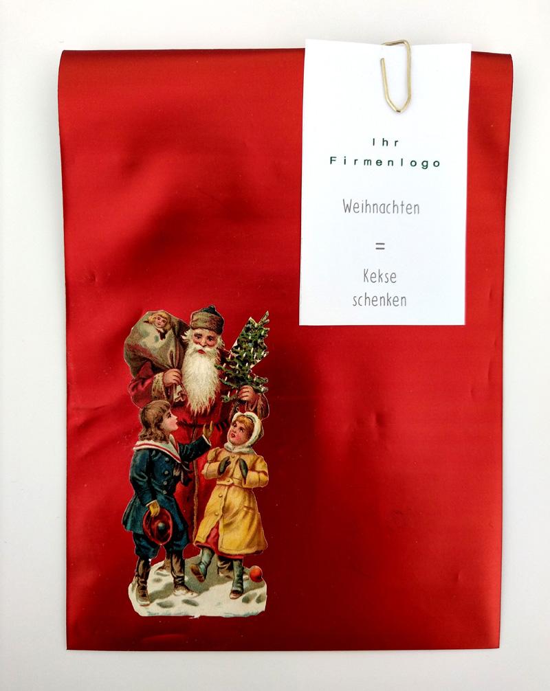 Folientüte rot mit Glanzbild Weihnachtsmann