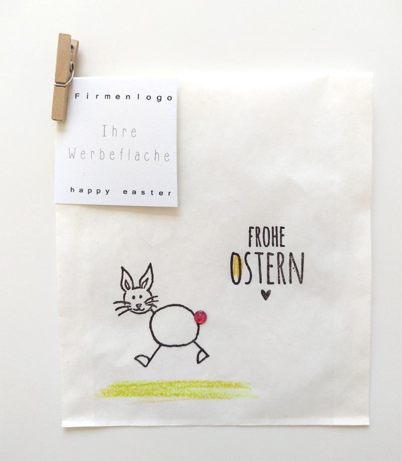 weisse Papiertüte mit Stempeldruck Frohe Ostern