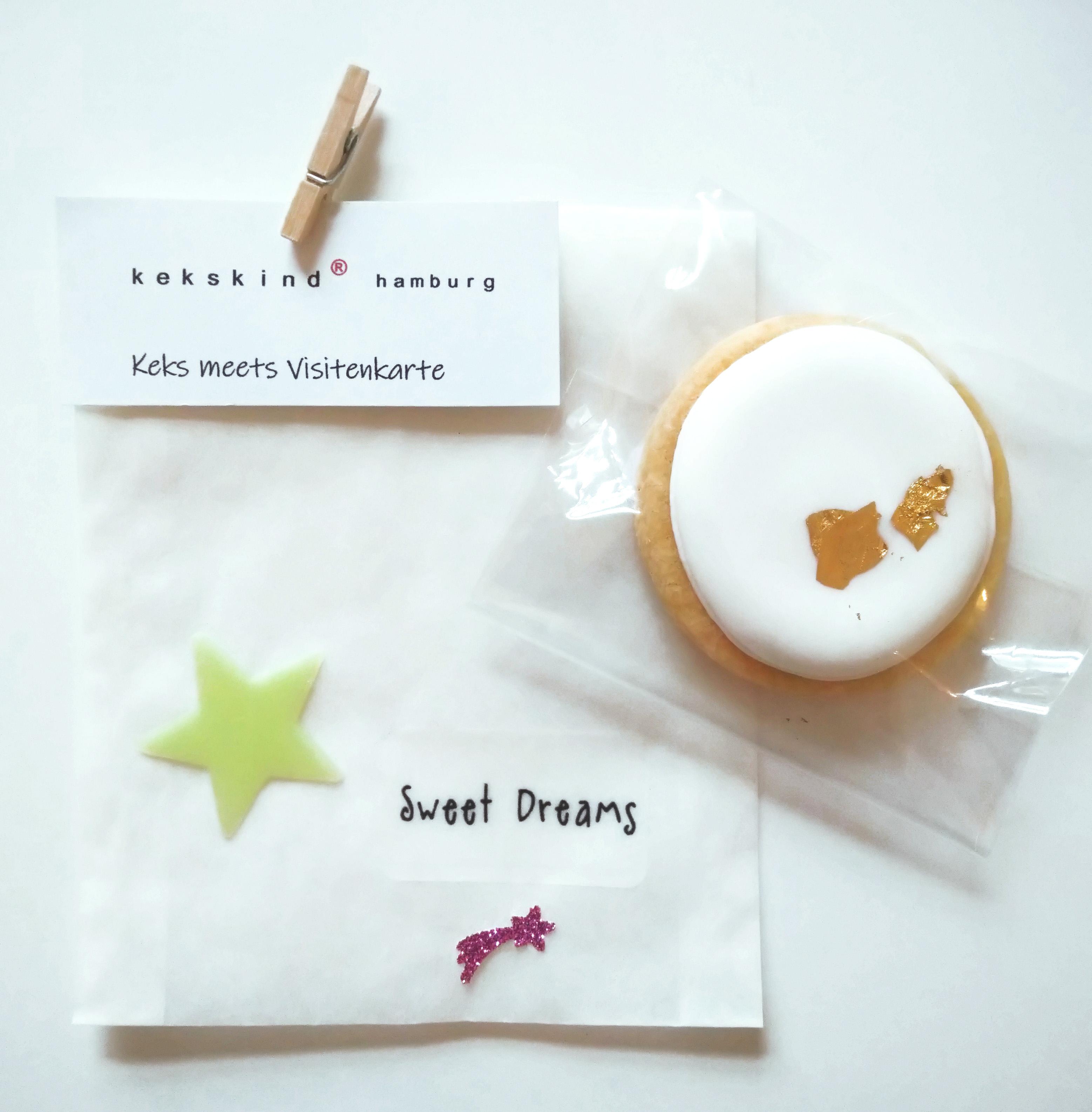 keks mit blattgold in Pergamintüte Motiv sweet dreams