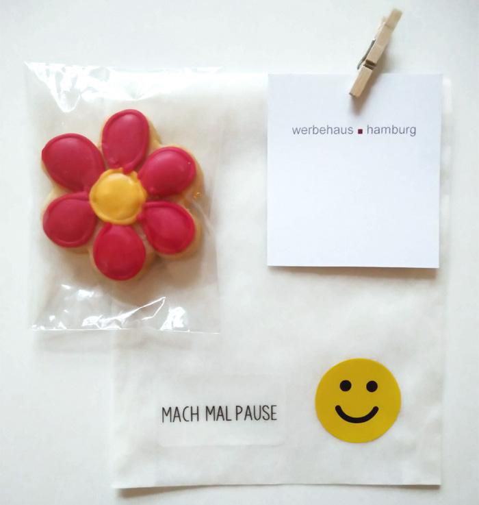 Pergamintüte Mach mal Pause mit Motivkeks Blume